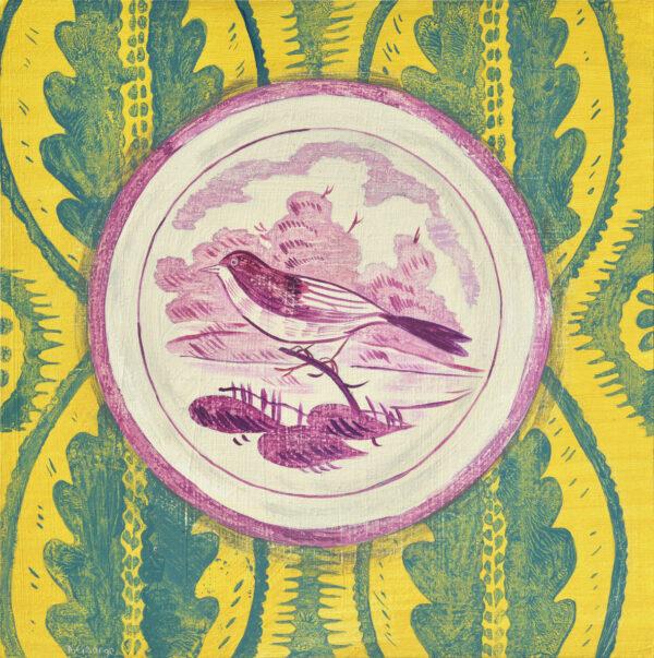 Lustre bird plate