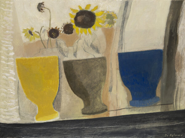 Three goblets and sunflowers in various stages of drying