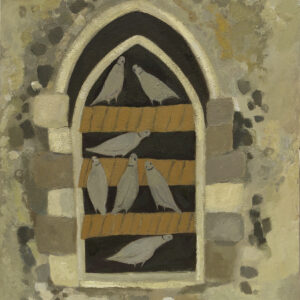 Doves in the churchyard window